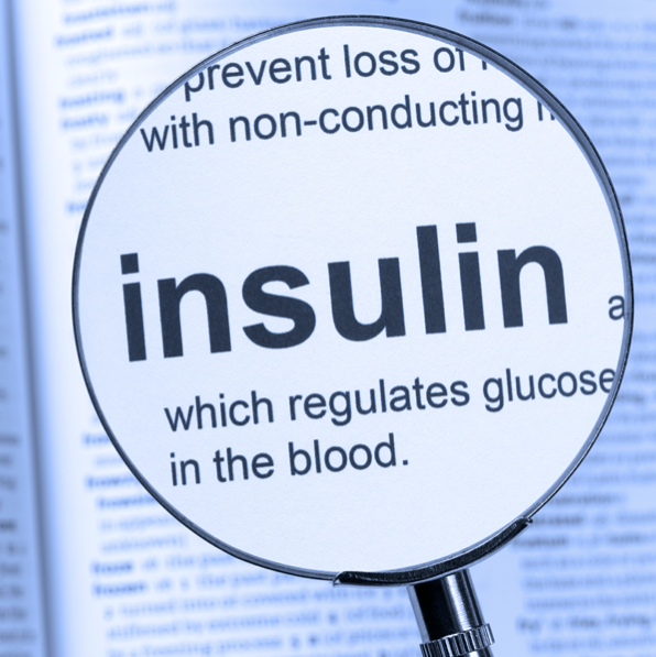 word insulin under a magnifying glass