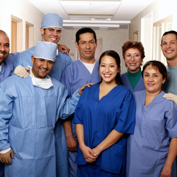 medical staff team smiling together