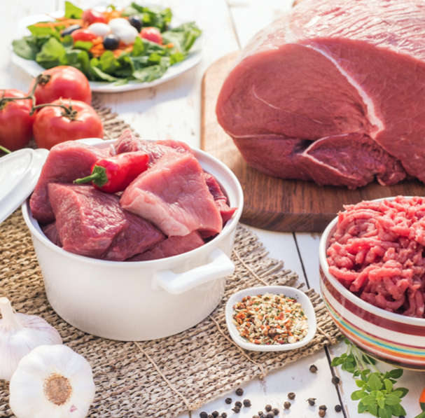 different varieties of red meat