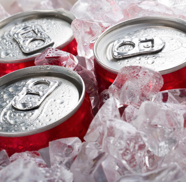 canned soda in ice bucket