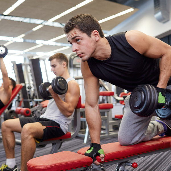 men exercising at the gym