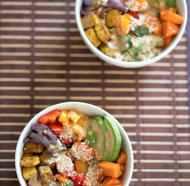 small vegan bowls at dinner table